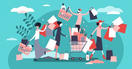 Shopping madness crowd flat tiny persons concept vector illustration. Black Friday or better sale offer increasing sales and business growth. Happy customers with bags, boxes and new products in cart.  イラスト・ベクター素材
