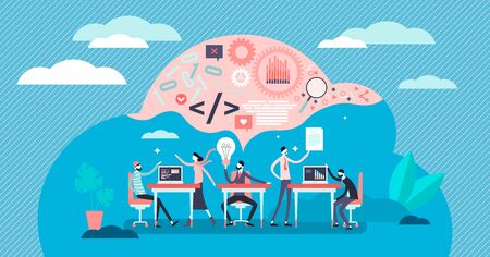 Hackathlon vector illustration. Flat tiny programmers competition persons concept. Technological IT software coding event process scene. Codefest and hackfest experts community challenge visualization