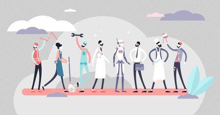 Jobs-Vektor-Illustration. Flaches winziges Konzept für verschiedene Arbeitsbesetzungspersonen. Professioneller Arbeits- und Arbeitsmarkt mit Roboterbeteiligung. Human Resources mit Technologien als menschliche Substitution. Vektorgrafik