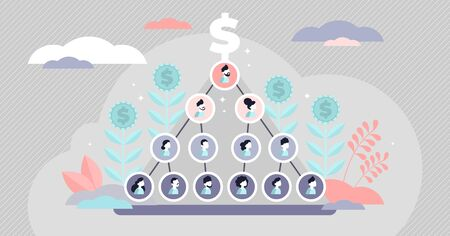 Ponzi scheme vector illustration. Flat tiny money fraud persons concept. Pyramid network with investors group as victims in fake company profit statistics. Criminal cheat and scam with funds tricks . Vettoriali