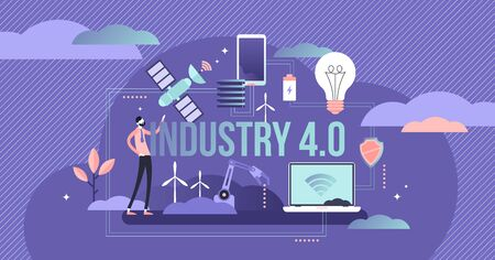 Industry 4.0 vector illustration. Fourth generation revolution subset. Smart manufacturing in lights out dark factories. Cyber physical systems monitor processes and internet of things development.