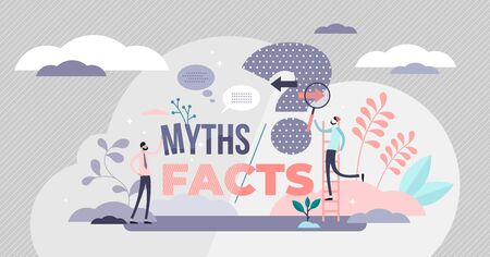 Myths and facts vector illustration. Information accuracy in flat tiny persons concept. Fake news versus trust and honest data source. Fiction authenticity research and checking. Verify rumors scene. 向量圖像