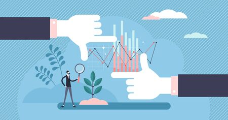 Big picture vector illustration. Statistics overview in flat tiny persons concept. Business development data research in zoom out method. Frame shape hands with schemes and diagrams in background. 向量圖像