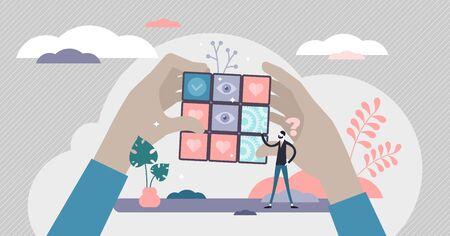 Averiguar la ilustración vectorial. Resolución de problemas en concepto de persona pequeña plana. Encuentre la solución en el método simbólico metafórico del cubo de Rubik. Escena abstracta de gestión de la vida privada, las relaciones o el tiempo de trabajo
