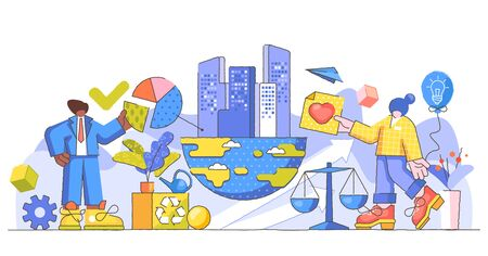 Corporate responsibility creative concept vector illustration. Ethical and honest persons concept. Symbolic business strategy for sustainable and fair rights organization management or CSR teamwork.