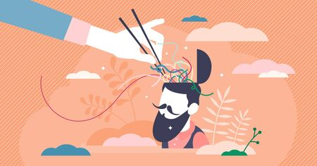 Confusion vector illustration. Mixed thoughts in flat tiny persons concept. Mind uncertainty from difficult choice decisions. Symbolic embarrassment with open head and chopsticks in information chaos.