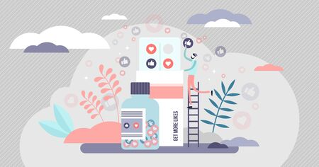 Like pill vector illustration. Emotional addiction from social media shares and appreciation in tiny persons concept. Symbolic medicine with thumbs up and love symbols. Absurd technology frustration. Illustration