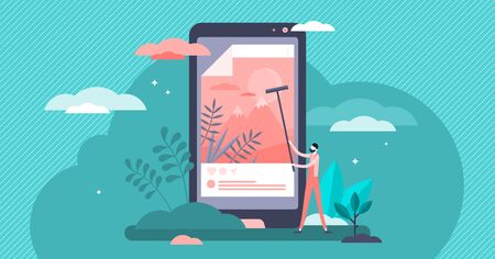 Posting vector illustration. News publication scene in flat tiny persons concept. Social media banners display as glued retro poster pillar. Smartphone screen with new picture online uploading process 向量圖像