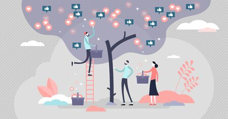 Like tree vector illustration. Social media symbols harvest process in flat tiny persons concept. Like, love and share icons growing in tree. Abstract online society hobby to collect digital thumbs up
