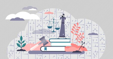 Hammurabi-Code-Vektor-Illustration. Alter babylonischer Gesetzeskodex in flachem, winzigem Personenkonzept. Alte historische Informationen entzifferten Schriften. Antike Rechtsprechung und Grundsatzbestimmungen.