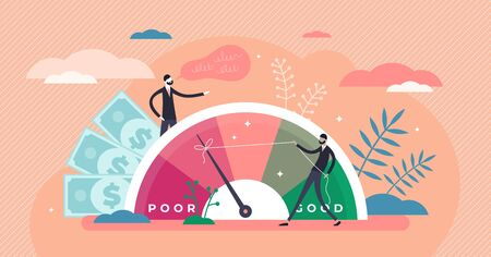 Credit score vector illustration. Wealth evaluation in flat tiny persons concept. Financial and economical situation improvement from poor to good for mortgage bank reports. Payment history data meter