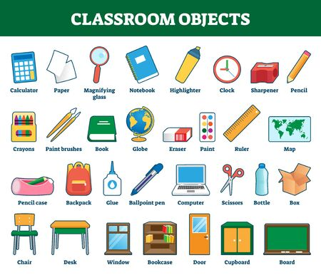 Classroom objects vector illustration. Labeled collection for kids learning and cognition process. Class indoor elements set with explanation. School things for vocabulary words knowledge development. Vector Illustration