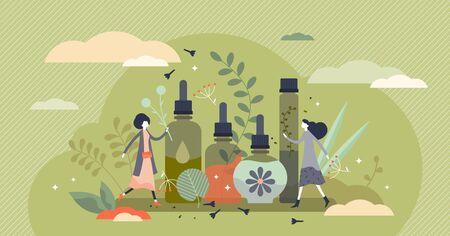 Illustration vectorielle d'huiles essentielles. Cosmétiques de beauté dans le concept de personnes minuscules à plat. Soins de la peau pour femme pour la santé et la détente. Produits d'hygiène avec des ingrédients à base de plantes pour un mode de vie de traitement aromatique.