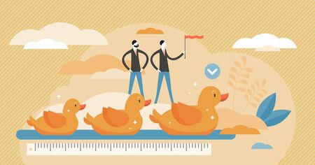 Get your ducks in row visualization vector illustration in flat tiny persons concept. Idiom with meaning to get organized or prepare yourself. System and arrangement organization for effective work.