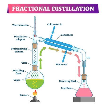 Illustrazione vettoriale di distillazione frazionata. Schema di processo di tecnologia educativa etichettato. Metodo fisico per separare la miscela in frazioni e liquido con apparecchiature a colonna di frazionamento e vapore.