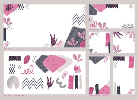 Dadaism inspired abstract style graphic elements with social media post, story and poster template. Sketchy scribble brush lines and artistic shapes in pink and grey colors. Modern design collection. 向量圖像