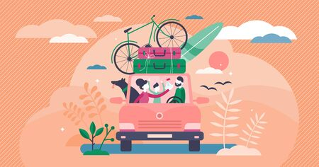 Family camping road trip concept, flat tiny persons vector illustration. Vacation weekend holiday journey in the sunset with mom, dad, son and loved dog. Loaded roof with luggage and leisure equipment Иллюстрация