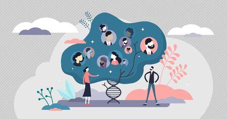 Concepto de investigación de información de árbol genealógico humano genético de ADN, ilustración de vector de personas pequeñas planas. Visualización gráfica abstracta de la estructura del genoma creativo. Proyecto de datos de laboratorio de ciencias biológicas.