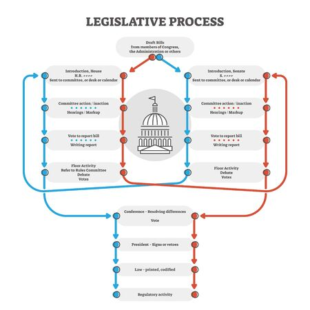 Legislative process outline diagram explanation scheme, vector illustration. Government congress and administration bill draft. Senate and committee action, hearings, voting, debates and other stages.