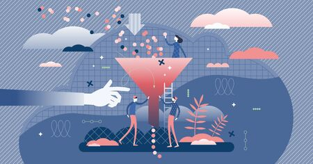 Bottleneck business management problem concept, flat tiny persons vector illustration. Stylized abstract funnel graphic with symbolic data filtering process. Deep blue color creative graphic elements Vector Illustration
