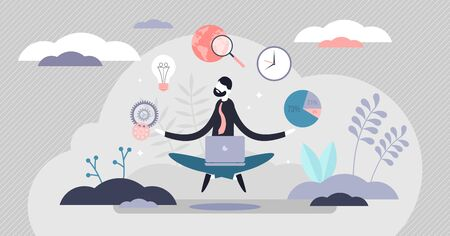 Business internet guru concept, flat tiny person vector illustration. Work stress balance and financial freedom. Business man meditating in yoga lotus pose with computer and managing symbolic aspects. Illustration