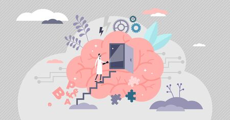 Psychology concept,flat tiny doctor person,vector illustration with symbolic human thoughts exploring,emotions and inner being. Brains with open door and psychiatrist investigating how the mind works. Archivio Fotografico - 138332121