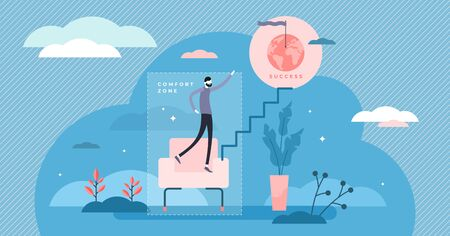 Comfort zone concept, flat tiny person illustration. Safe daily lifestyle versus risk and personal growth. Motivation and inspiration for success and achievements. Starting new life goals. Standard-Bild - 138666651
