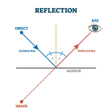 Reflection ray scheme, vector illustration diagram. Light wave physics law. Incident and reflected light ray direction example. Eye vision perception educational explanation. Simple lines and angles.