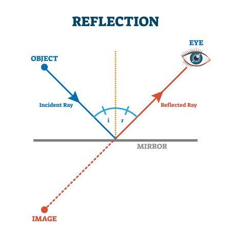 Reflexionsstrahlschema, Vektorillustrationsdiagramm. Gesetz der Lichtwellenphysik. Beispiel für die Richtung des einfallenden und reflektierten Lichtstrahls. Pädagogische Erklärung zur Wahrnehmung des Sehvermögens. Einfache Linien und Winkel.