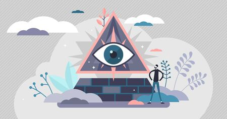 Conspiracy theory, eye pyramid symbol concept, flat tiny person vector illustration. All controlling mysterious power belief. Truth investigation and evidence research community movement.