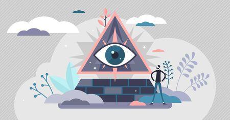 Théorie du complot, concept de symbole de la pyramide des yeux, illustration vectorielle de petite personne plate. Tous contrôlant la croyance au pouvoir mystérieux. Mouvement communautaire d'enquête sur la vérité et de recherche sur les preuves.