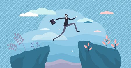 Next big business leap, businessman jumping over a cliff gorge. Flat tiny person vector illustration. Symbolic success move while taking risk. Entrepreneur challenges, motivation and personal growth. 일러스트