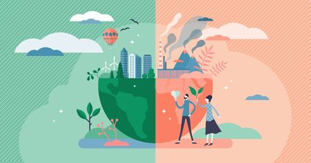 Environment concept, flat tiny persons couple vector illustration. Green and healthy planet earth versus industrial pollution and global warming issues. Renewable power and sustainable development. Vektorové ilustrace