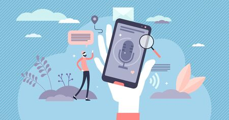 Voice search web content optimization for business growth, flat tiny person vector illustration. Mobile phone device with microphone symbol and user making search query with the speech. Stylized scene