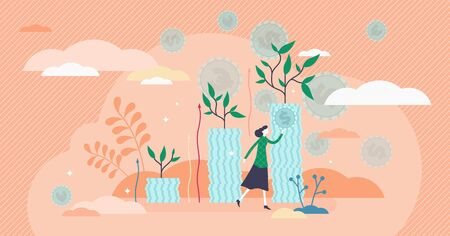 Growing income flat tiny person concept vector illustration. Cash reserve progress and successful finance strategy. Money investing and savings management. Symbolic cash piles with growing green trees 일러스트