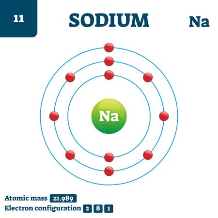 Sodium chemical element, vector illustration diagram. Atomic mass and electron configuration information. Symbol Na in periodic table. Educational chemistry scheme and detailed structure example. Ilustracja