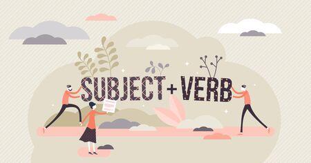 Struttura della frase con soggetto e verbo, illustrazione vettoriale di concetto di persone minuscole piatte. Imparare la grammatica linguistica e identificare i tipi di parole. Principi di scrittura e conversazione, processo di studio scolastico. Vettoriali