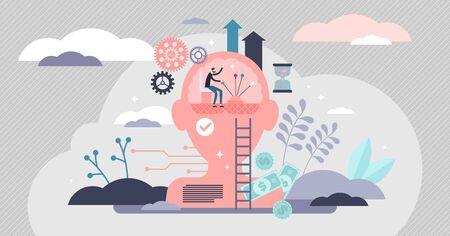 Concept de processus mental d'autocontrôle, illustration vectorielle de petite personne plate. Activité psychologique, prise de décision dans la vie, réflexes corporels, intelligence émotionnelle, traits de personnalité et pouvoir de la pensée Vecteurs