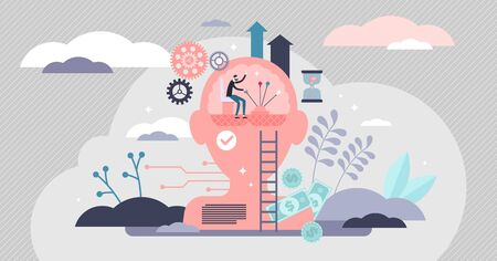 Self control mental process concept, flat tiny person vector illustration. Psychological activity, life decision making, body reflexes, emotional intelligence, personality traits and power of thoughts Vetores