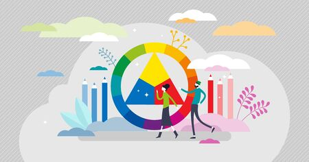 Color wheel scheme, flat tiny person vector illustration. Creative designers picking color palette and creating color harmony for arts project. Abstract modern scene with color circle and triangle. Ilustração