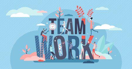 Concetto di attività di lavoro di squadra, illustrazione vettoriale di persona minuscola. Obiettivi aziendali reciproci e mettere insieme i punti di forza per un lavoro più produttivo e una crescita. Cooperazione tra esseri umani e macchine robot IA.