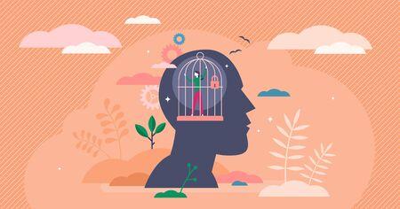 Concept psychologique de la prison de l'esprit, illustration vectorielle de petite personne plate. Silhouette de tête avec piège mental personnel en cage fermée. Problème de croissance personnelle et vision du monde déformée. Coincé dans la zone de confort