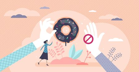Healthy choices dieting concept, flat tiny female person vector illustration with giving and stopping hand. Tasty sweet donut temptation and commitment to stick to the weight loss plan and being fit.