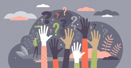 Concetto di domande, illustrazione vettoriale di persona minuscola piatta con le mani uditive sollevate. Partecipanti pubblici che vogliono trovare risposte. Scena di conferenza moderna stilizzata con simboli di punto interrogativo. Vettoriali