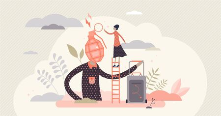 Fed up family couple relationships, flat tiny person vector illustration. Married couple breakup. Annoyed husband with exploding head symbol and wife making things worse. People communication issues.