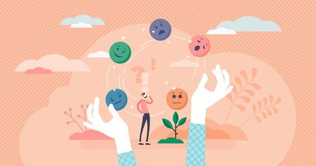 Juggling emotions, flat tiny persons vector illustration. Personal traits and self awareness emotional intelligence. Controlling impulses and mental activity reactions. Exploring inner personality.
