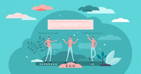 Ego, super ego and ID psychological conflict concept, flat tiny persons vector illustration. Mental process decision making between moral rules and wants. Personal balance and emotional intelligence.