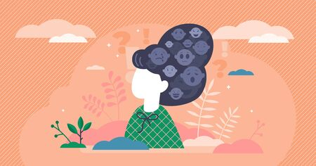 Emotions stylized art, flat tiny person vector illustration. Creative emotional symbols in the female persons head. Mental thought process activity. Psychological inner decision making and reacting.