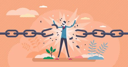 Break free concept,flat tiny person vector illustration.Achieving personal freedom.Independence mental state growth and resistance to social standards.Stylized abstract breaking chains metaphor symbol