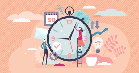 Concepto de gestión del tiempo, ilustración de vector de personas pequeñas planas. Pareja casada planificando las tareas de la vida diaria y programando los días de descanso. Éxito en el equilibrio entre el trabajo y la vida privada. Ilustración de vector